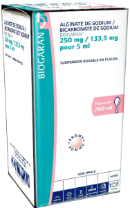 Alginate de sodium / bicarbonate de sodium biogaran 250 mg/133,5 mg pour 5 ml, suspension buvable en flacon