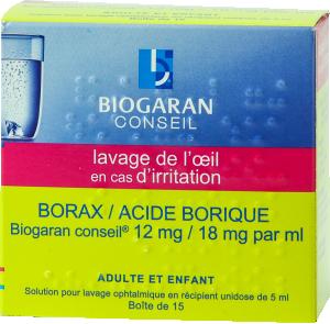Borax/acide borique biogaran conseil 12 mg/18 mg par ml, solution pour lavage ophtalmique en récipient unidose